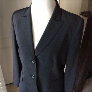 Tahari Pin Dot Blazer SZ 12 Black Career Jacket